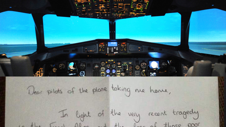 An airline passenger wrote a heartfelt note thanking her pilots for getting her home safe.