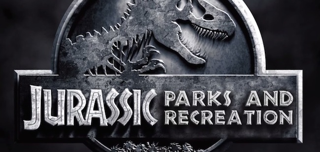 Andy Dwyer battles dinosaurs in this epic mashup 'Jurassic Parks and Recreation.'