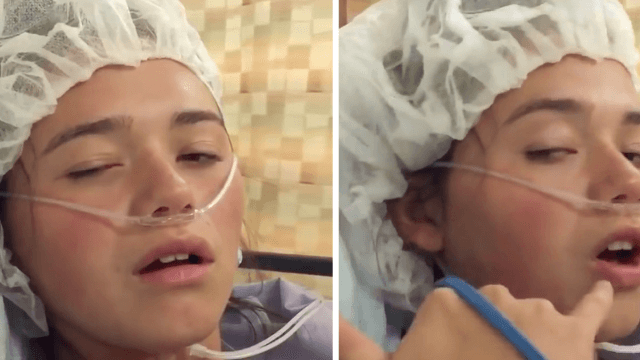 Mom horrified as daughter tripping on anesthesia says she wants 'balls' to give her a call.