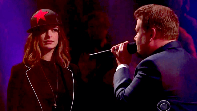 Anne Hathaway and James Corden faced off in a rap battle and it got surprisingly personal.