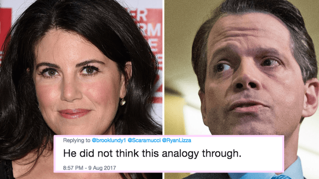 Anthony Scaramucci accidentally compared himself to Monica Lewinsky and Twitter is ecstatic.