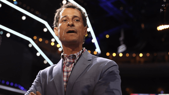 Anthony Weiner moved in with his mom.