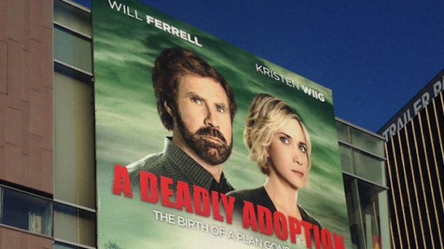 This billboard confirms a secret Will Ferrell-Kristen Wiig Lifetime movie is actually happening.