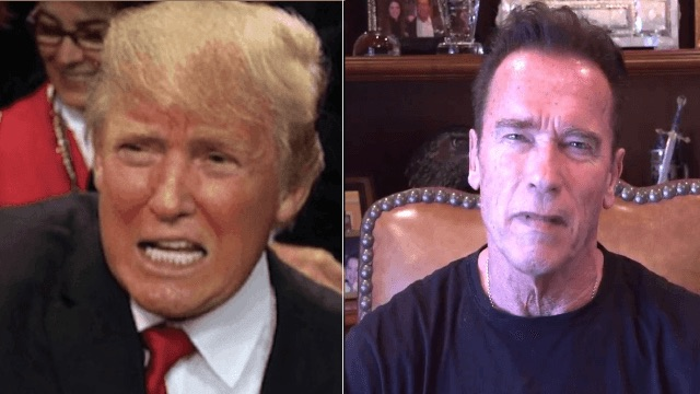 Current 'Celebrity Apprentice' host thinks the former host is making the U.S. look 'stupid.'