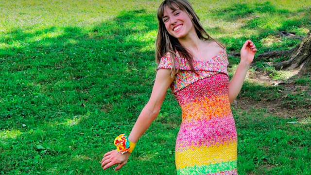 Artist makes dress out of 10,000 Starburst wrappers that's even sweeter than the candy.