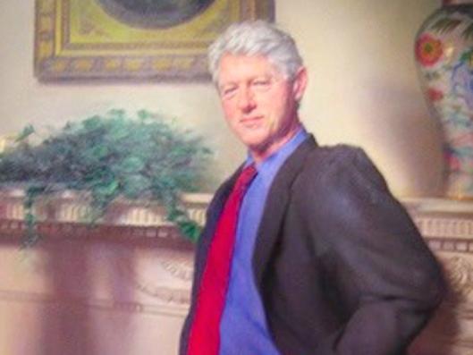 Monica Lewinsky is standing in Bill Clinton's portrait in the National Gallery.