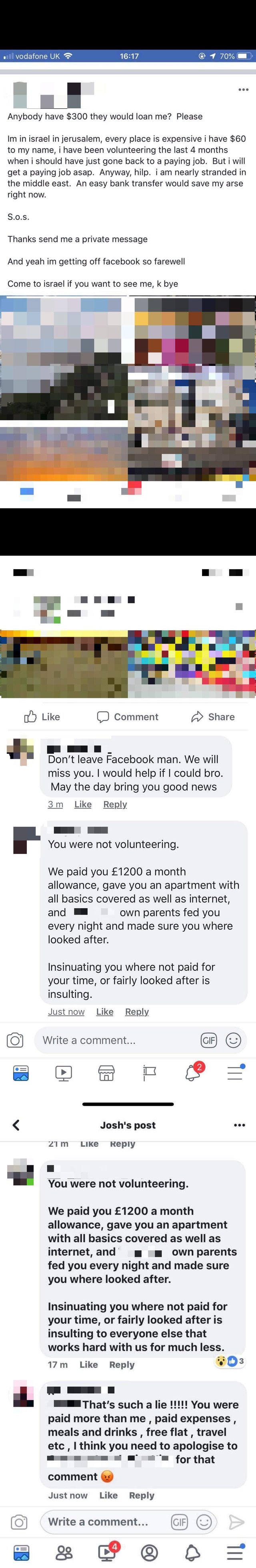 Guy 'volunteering' abroad begs for money on Facebook until an ex-employer calls him out.