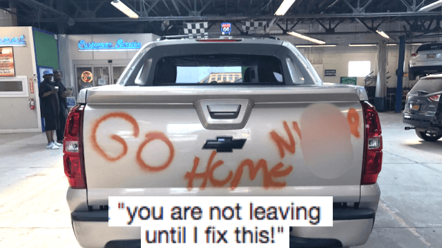Guy's truck gets vandalized with racist graffiti. Auto repair shop mobilizes to help.