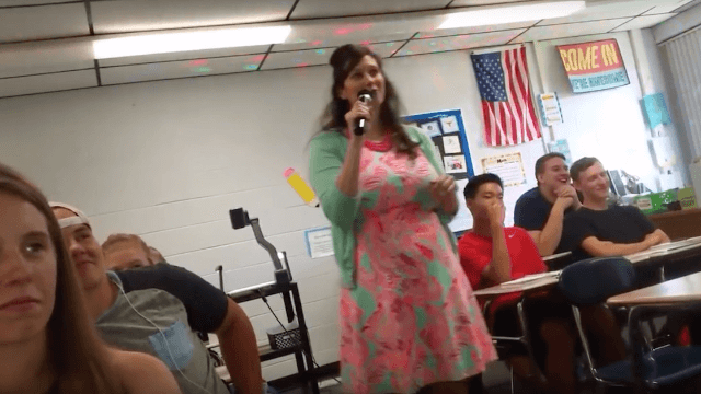 Math teacher tries to win over the #youths with painfully long karaoke medley.