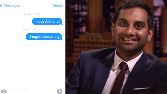 "Aziz Ansari shares people's embarrassing first romantic text messages on ""The Tonight Show."""