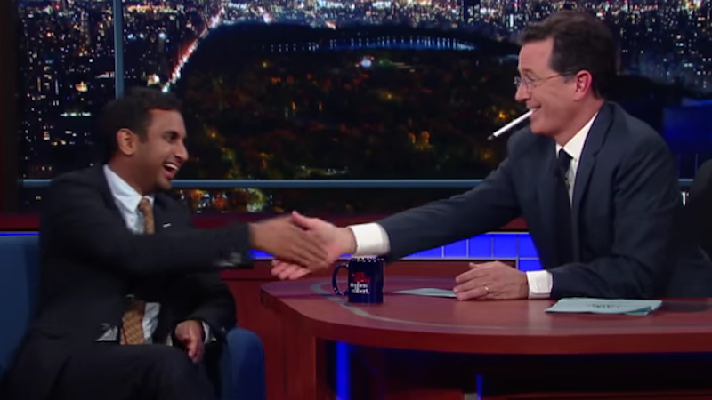 Aziz Ansari jokes about lack of diversity on CBS during interview with Stephen Colbert.