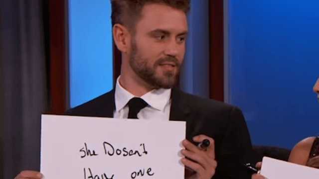 New 'Bachelor' winners try to convince us it isn't all a sham with newlywed game on 'Kimmel.'