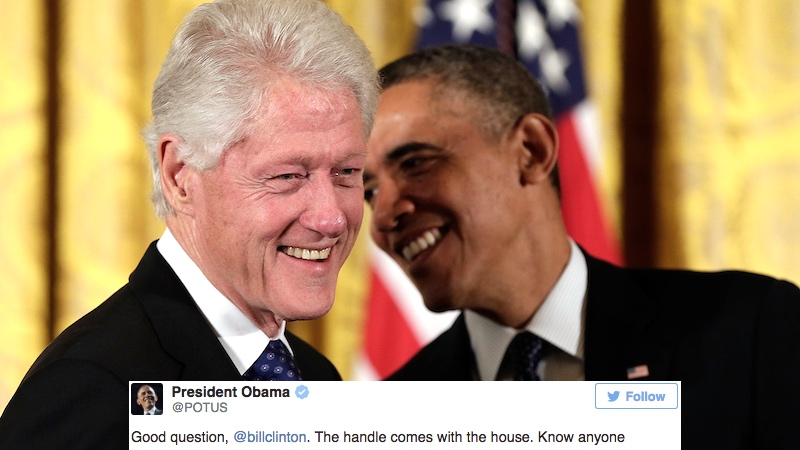 Barack Obama joined Twitter and immediately got into a flame war with Bill Clinton.