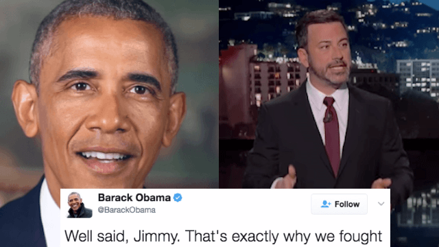 Here's Obama's awesome response to Jimmy Kimmel's emotional defense of Obamacare.