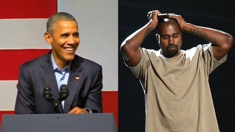 Obama has some advice for Kanye's campaign, sneaks in a Kardashian joke like a pro.
