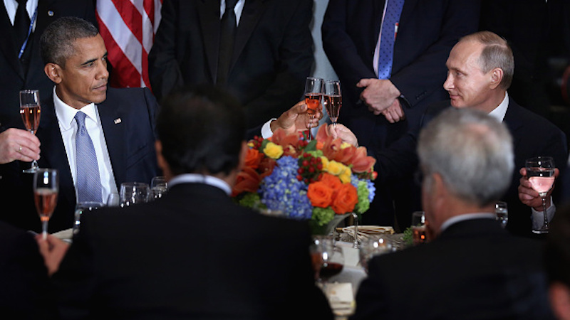 Obama and Putin locked eyes over a glass of rosé, and the Internet obviously held a caption contest.