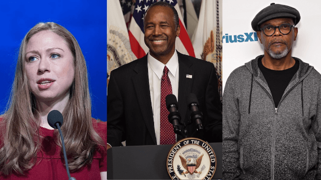 Chelsea Clinton, Samuel L. Jackson, and other celebs slam Ben Carson for slavery comment.