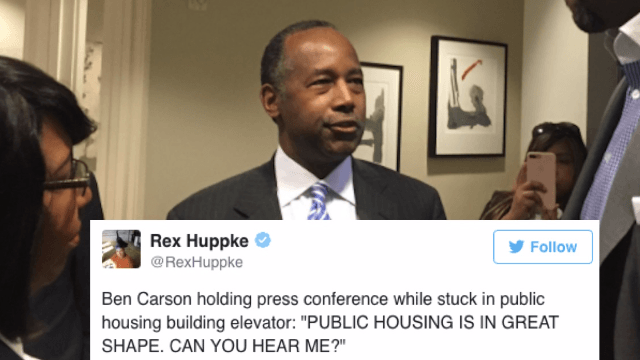 Ben Carson got trapped in an elevator and Twitter was like 'You're going down.'
