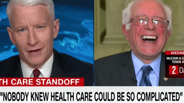 Bernie Sanders gets a nice belly laugh over Trump's 'so complicated!' health care comments.
