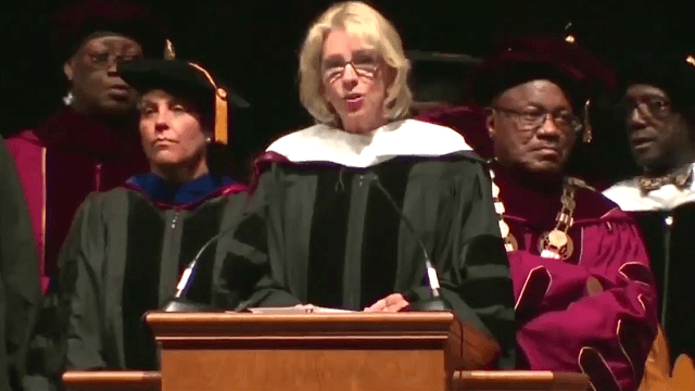 Betsy DeVos got booed so badly during a commencement address, the dean had to intervene.