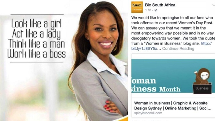"""Sorry you were offended, but you put it on your own lady blogs."" (via Bic South Africa)"