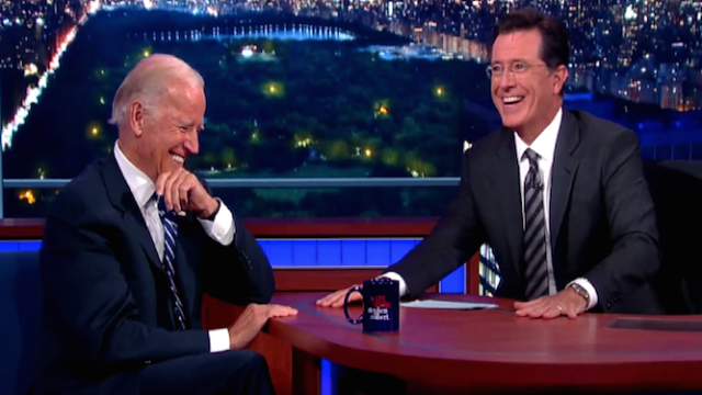 Joe Biden tells Stephen Colbert to run for president, sweetens the deal with irresistible offer.