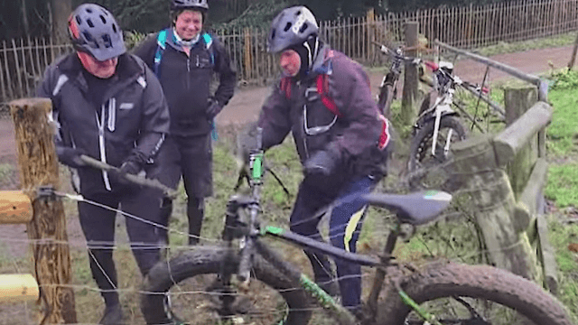 Friends accidentally become the Three Stooges when their bike gets stuck in an electric fence.
