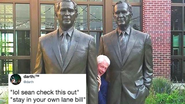 Bill Clinton trolls Sean Spicer by hiding in the 'Bushes.' LOL, get it?