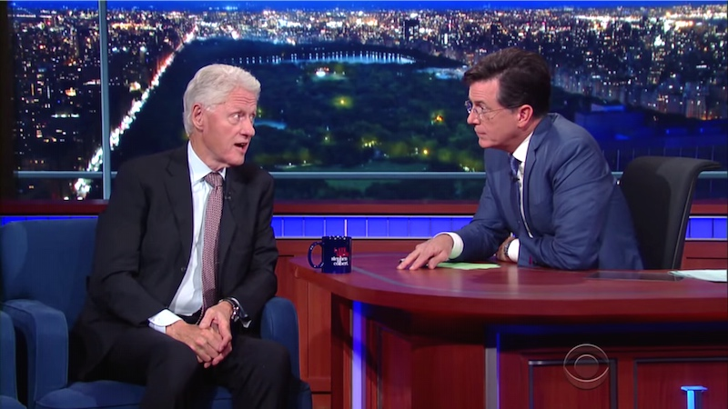 Future First Lady Bill Clinton explains Trump and Bernie's appeal on 'Colbert.'