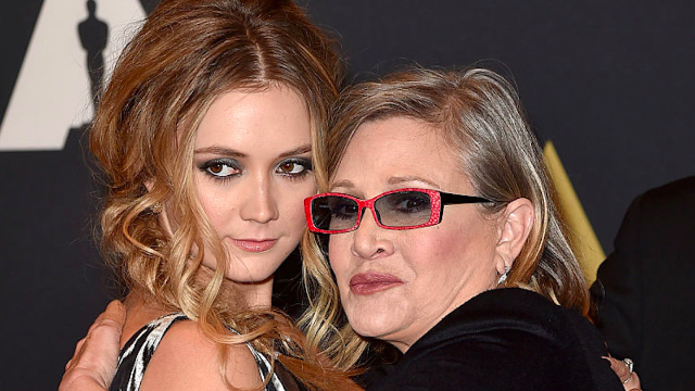 Billie Lourd writes moving tribute to accept an award on behalf of mom Carrie Fisher.