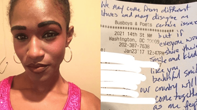 Liberal waitress gets generous tip and heartwarming message from Trump supporters.