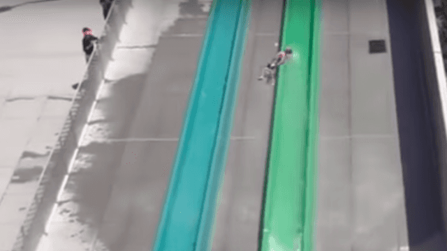 Boy comes flying out of a brand-new water slide just 90 minutes after it officially opens.