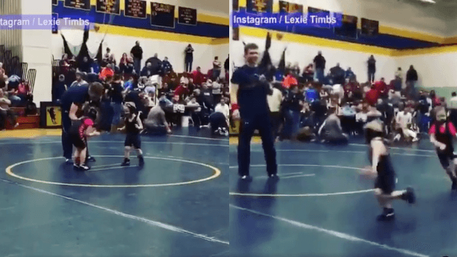 Little boy runs away from girl in a wrestling match, internet cheers because the patriarchy is dead!