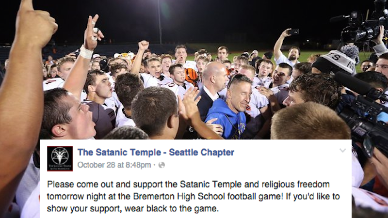 A high school football coach refused to stop praying at games, so the kids called in the Satanists.