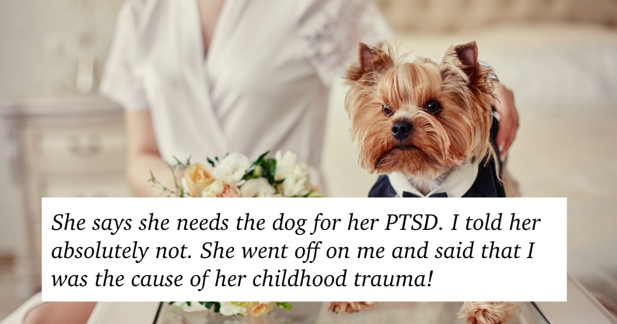 Bride asks if it's wrong not to let sister bring 'service dog' to her wedding.