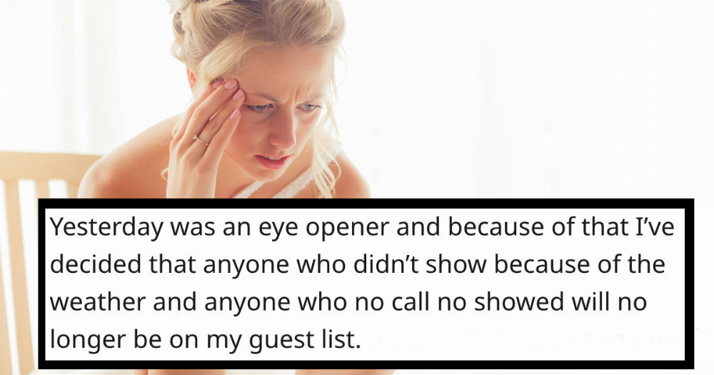 Bride angrily uninvites wedding guests who missed her bridal shower because of major snowstorm.