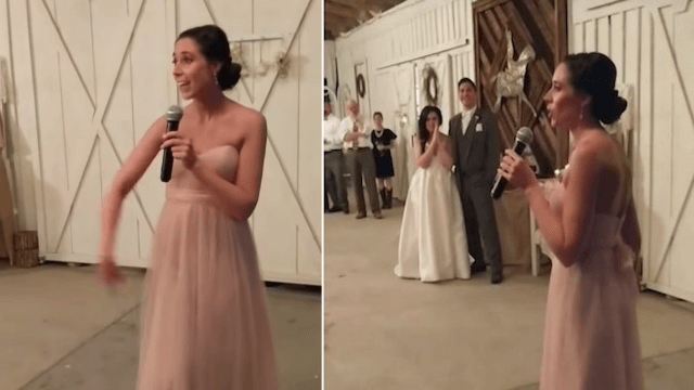 Bridesmaid raps bride and groom's love story to 'Slim Shady,' gets wedding turnt.