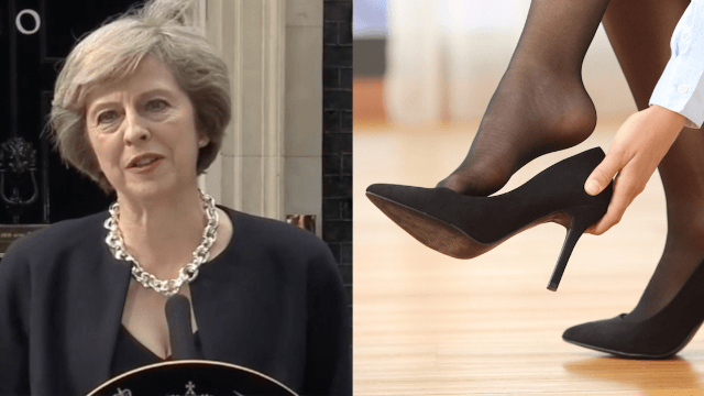 """British Prime Minister Theresa May told to stop wearing heels in order to """"advance"""" women."""