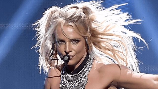 Britney Spears concert halted by acrobatic fan who wouldn't leave Britney alone.