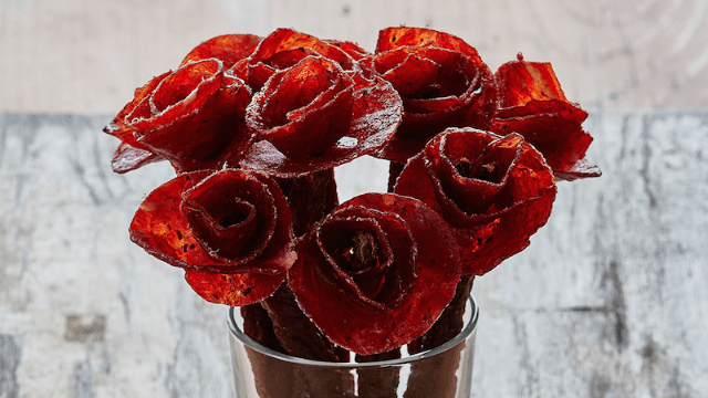 'Broquets' are flower arrangements made of beef jerky, because men are too manly for plants.