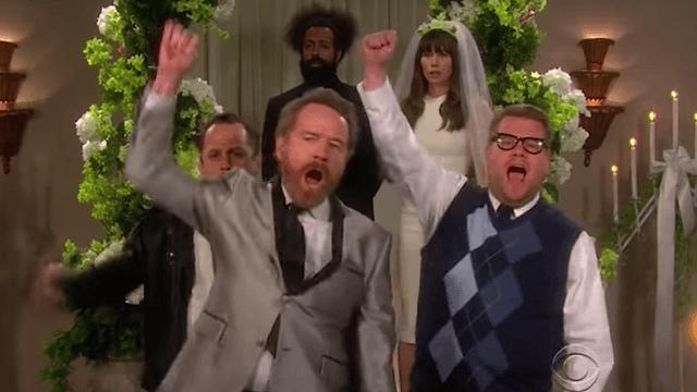 Bryan Cranston brings Walter White intensity to Kanye West lyrics in James Corden's soap opera.