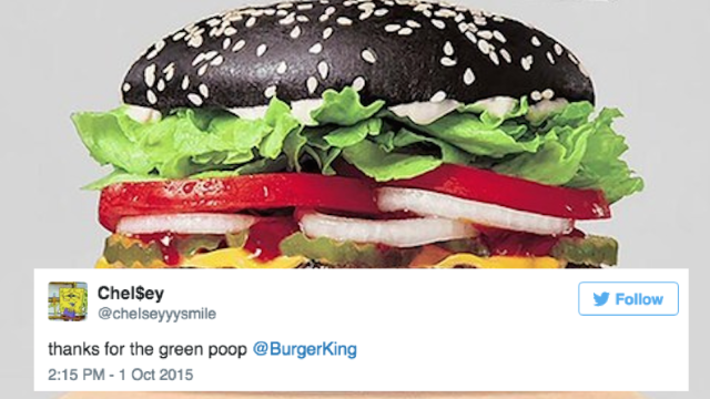 "That Burger King ""black bun burger"" is making a surprisingly colorful exit. From people's bodies."