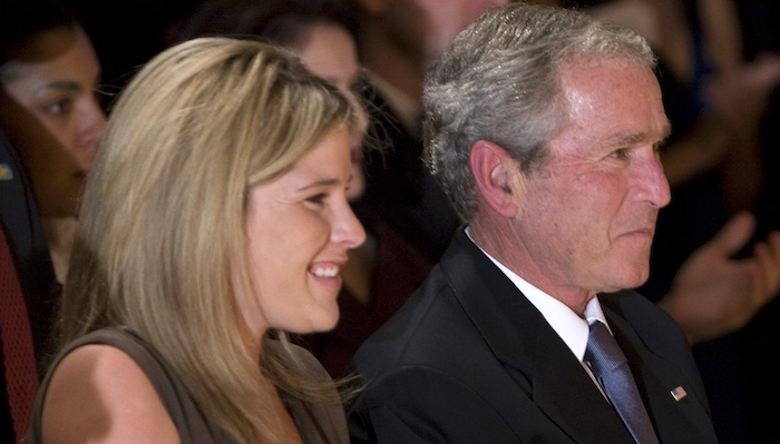 Jenna Bush Hager and George W. Bush.