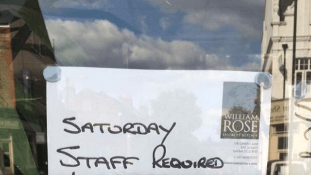 London butcher shop's brutally honest 'help wanted' sign backfires into Internet rage.