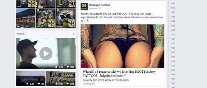 Butt bandit hacks Facebook pages for University of Michigan athletics, covers them in butts.