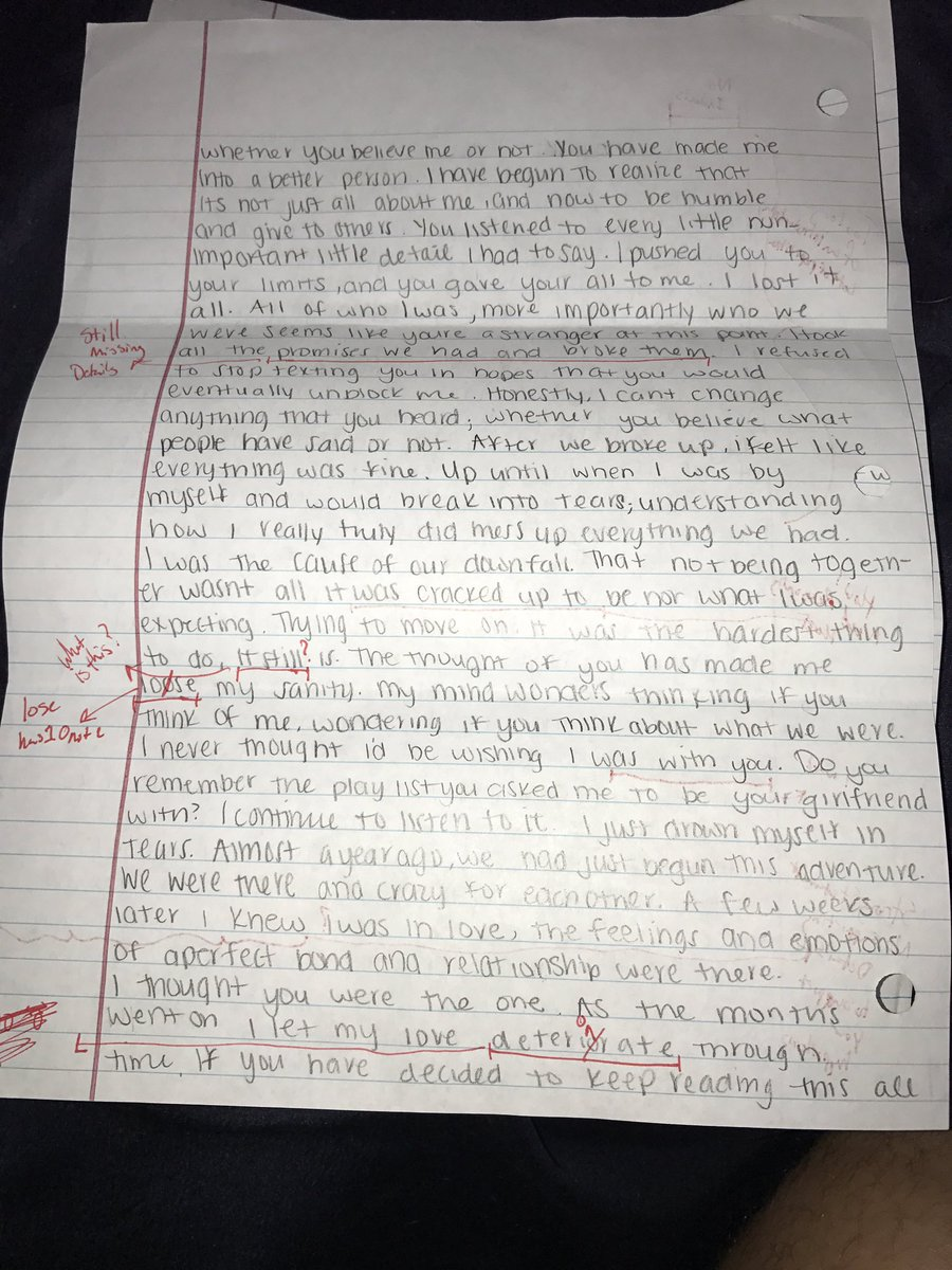 College student grades exgirlfriends apology letter sends it back