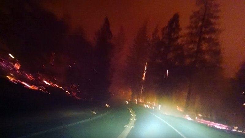 This video of a driver escaping a wildfire in California will make you want to call your loved ones.