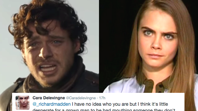 Cara Delevingne and Robb Stark are fighting on Twitter in a surprising feud pairing.
