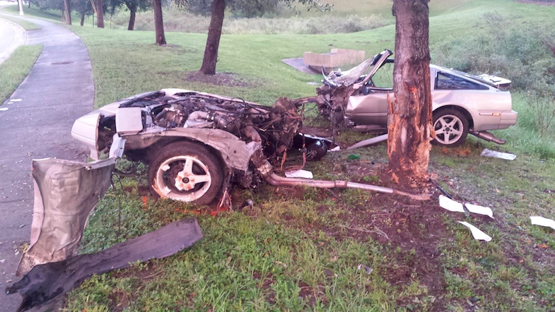 A man survived this wreck in one piece. His vintage 80s sports car did the opposite.