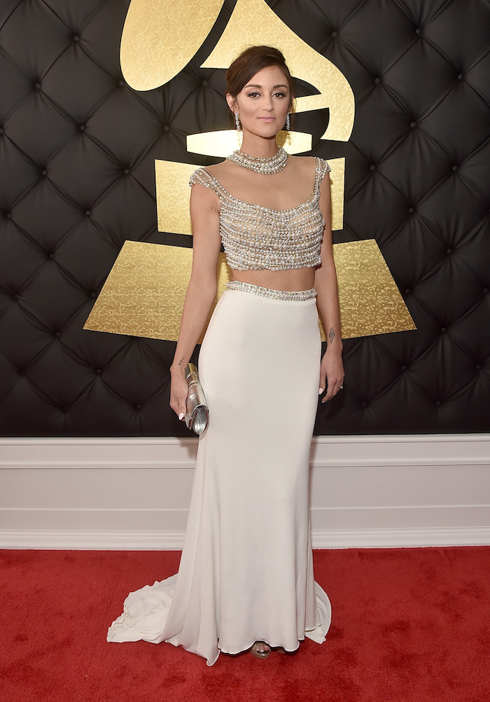 Caroline D'Amore looked stunning in a beaded crop top and flowing cream-colored skirt.